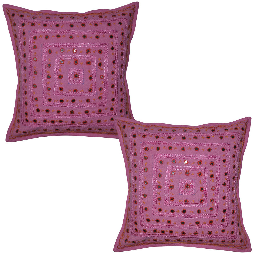 Jaipuri Hand Embroidered Ethnic Pink Color Cotton Mirror Cushion Cover 40 X 4