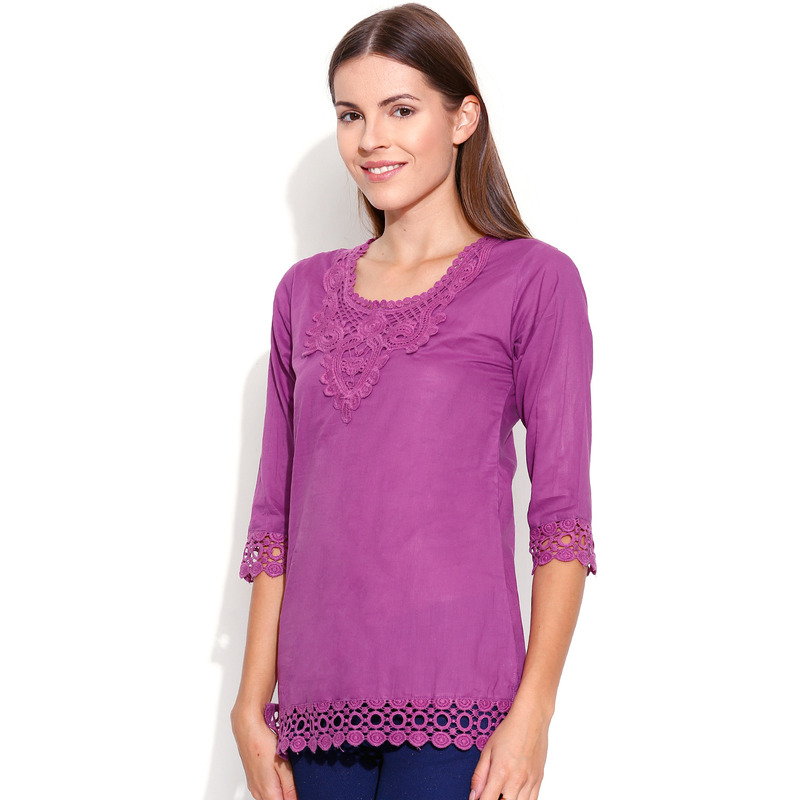 Casual 3/4th Sleeve Crochet Neck Detail Solid Women's Campus Wear Purple Top (Size:S)