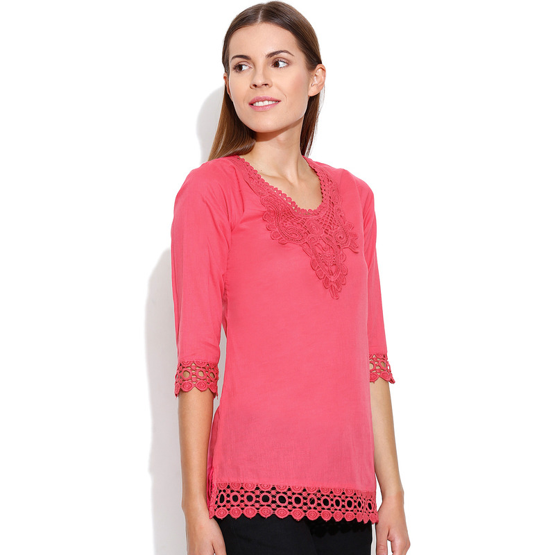 Casual 3/4th Sleeve Crochet Neck Detail Solid Women's Campus Wear Pink Top (Size:S)