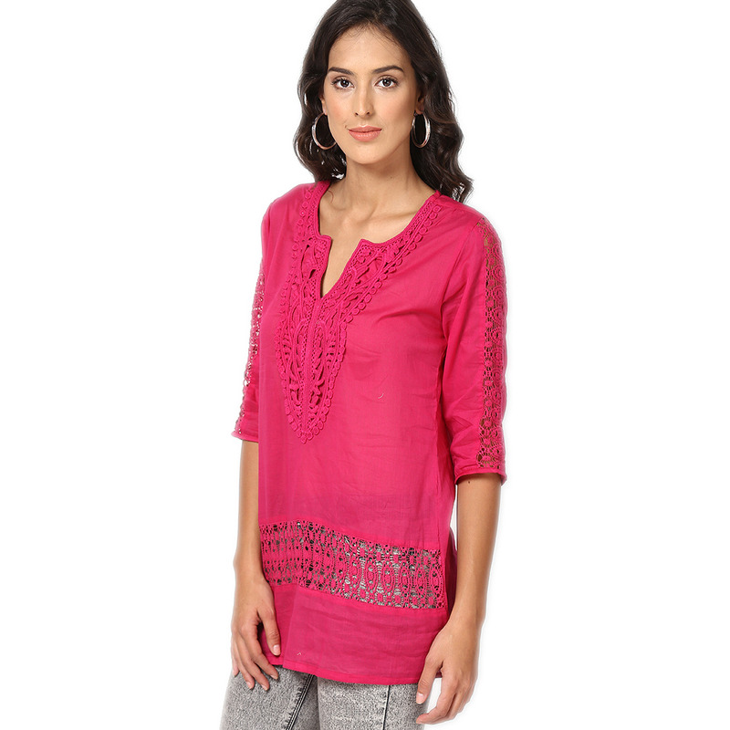Casual 3/4th Sleeve Crochet Neck Detail Solid Women's Campus Wear Pink Top