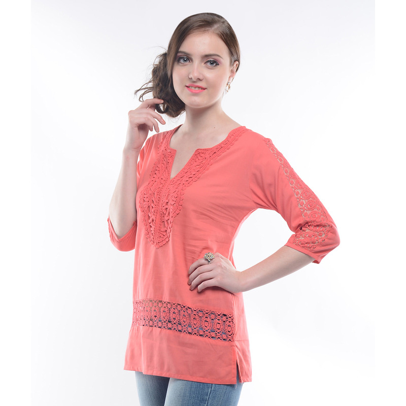 Casual 3/4th Sleeve Crochet Neck Detail Solid Women's Campus Wear Orange Top (Size:M)