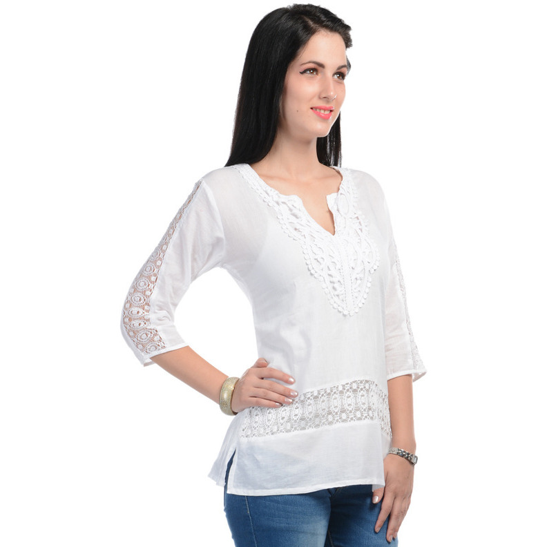 Casual 3/4th Sleeve Crochet Neck Detail Solid Women's Campus Wear White Top (Size:S)