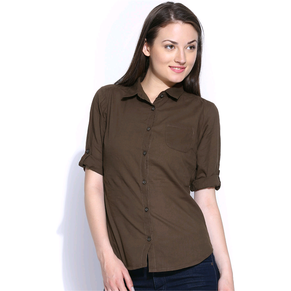 Casual Roll Up Sleeve Slim Fit Solid Women's Campus Wear Brown Shirt (Size:L)