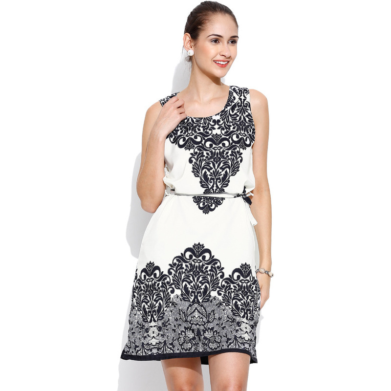 White and Black Casual Sleeveless A Line Floral Women's Campus Wear Dress