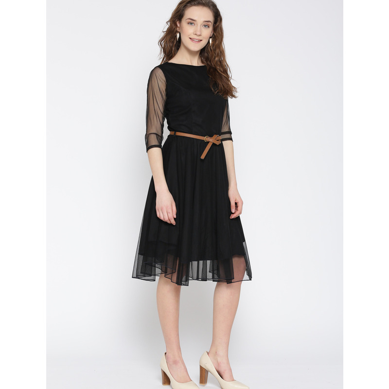 Women's Mesh Net Black Party Wear Fit and Flare Polyester Western Wear Dress (Size:XL)