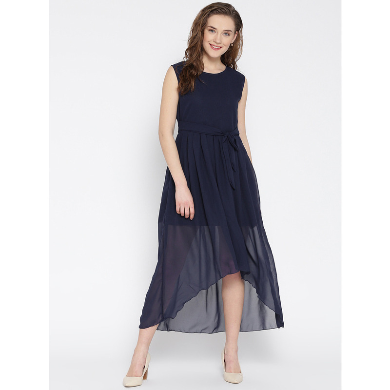 Women's Navy Blue Party Wear High Low Georgette Western Wear Dress (Size:S)