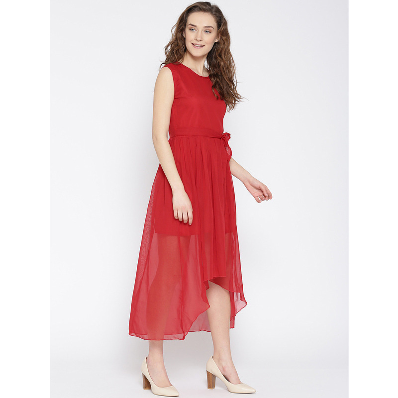 Women's Red Party Wear High Low Georgette Western Wear Dress (Size:M)