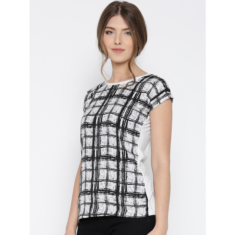 Women Off-White & Black Blue Checked Printed Polyester Top (Size:XL)