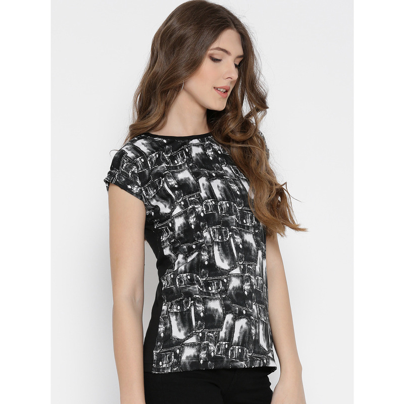 Women Black & White Blue Printed Polyester Casual Wear Top (Size:M)
