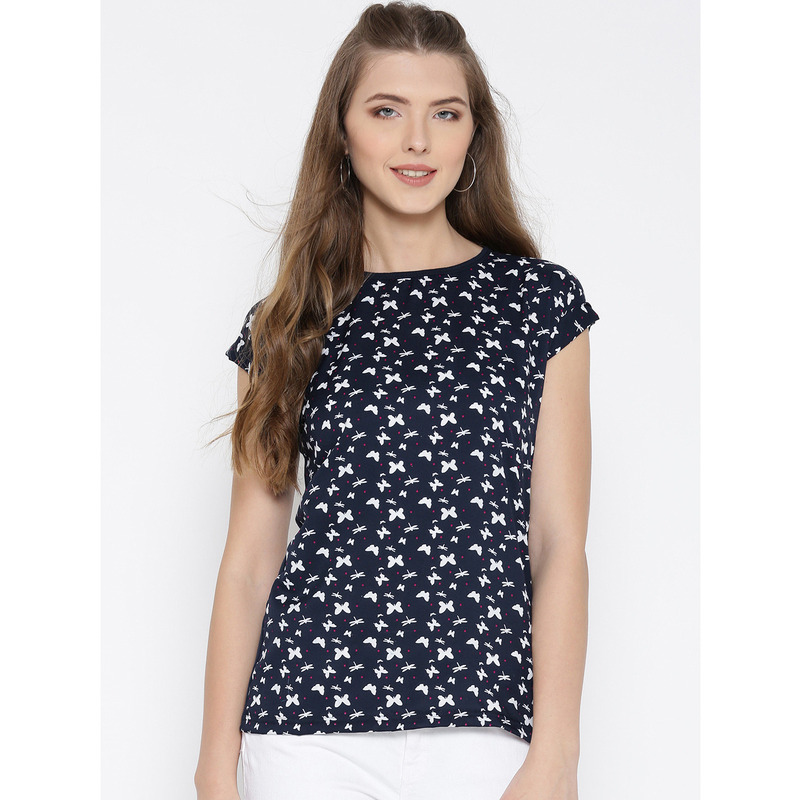 Women Navy Butterly Printed Polyester Casual Wear Top (Size:S)