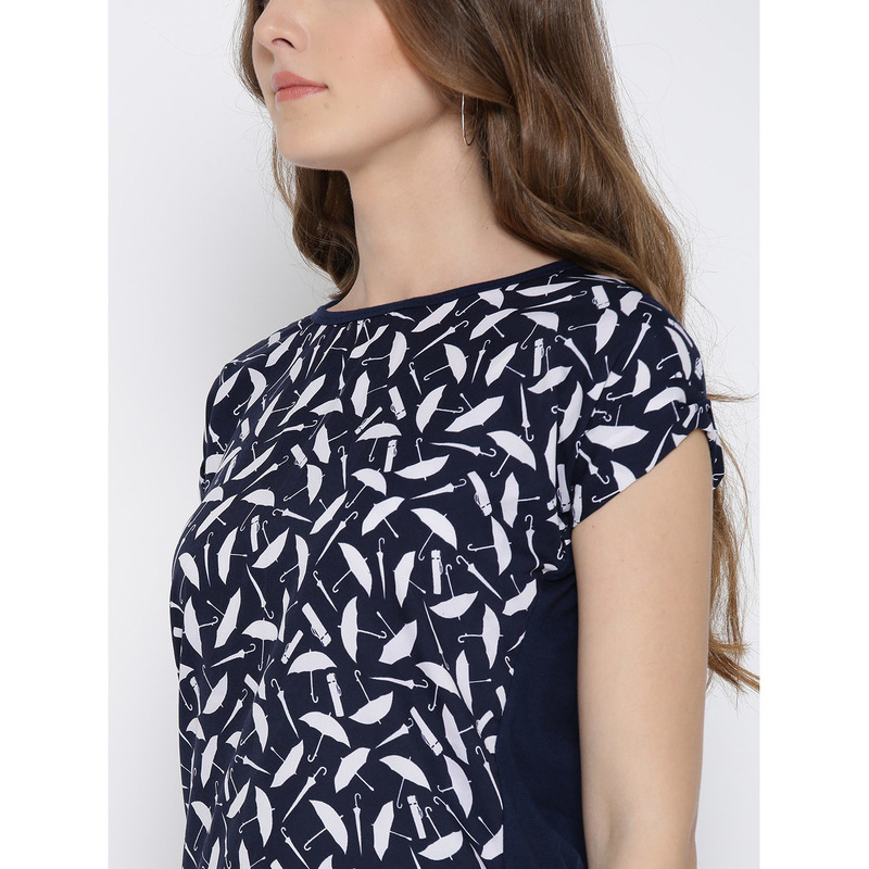 Women Navy Umbrella Printed Polyester Casual Wear Top (Size:M)