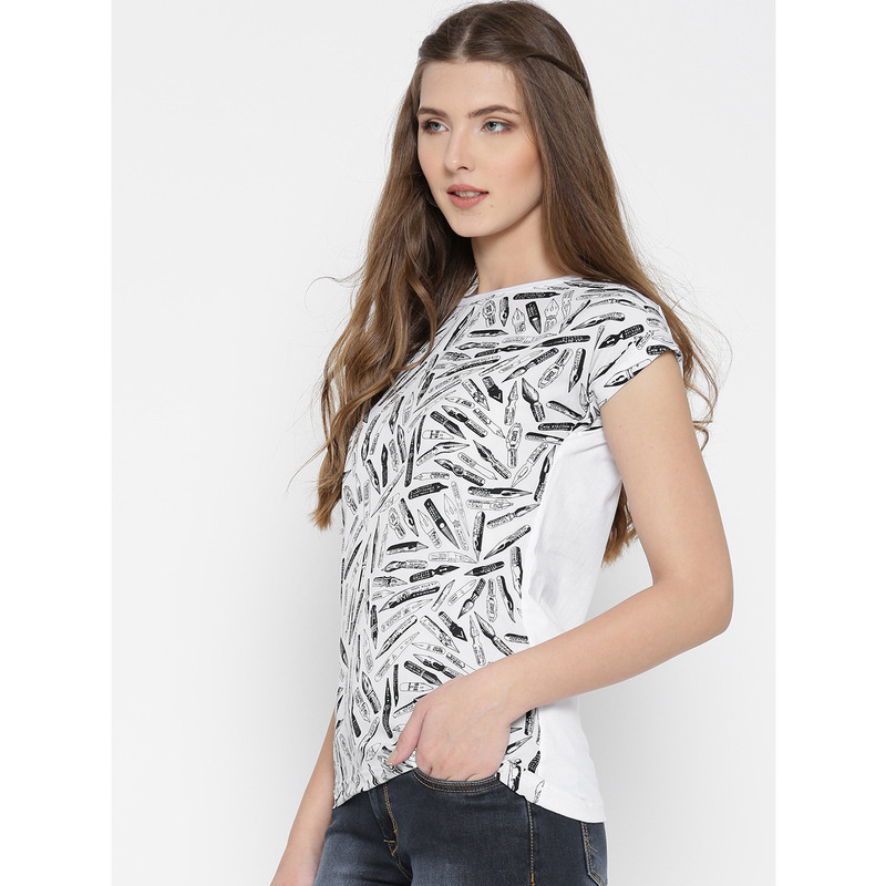Women White & Black Printed Polyester Casual Wear Top (Size:S)