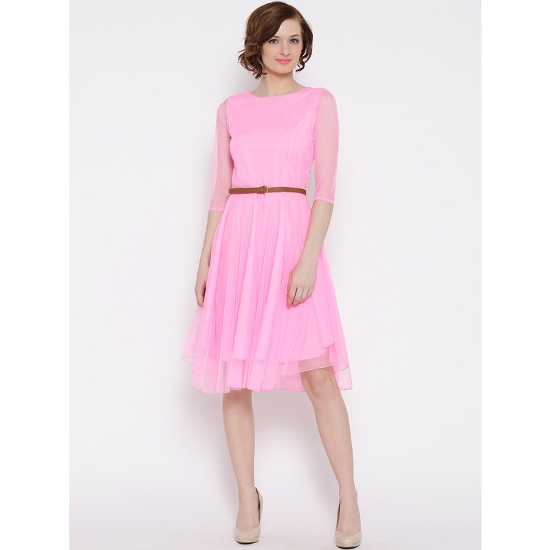 Women's Mesh Net Pink Party Wear Fit and Flare Polyester Western Wear Dress (Size:M)