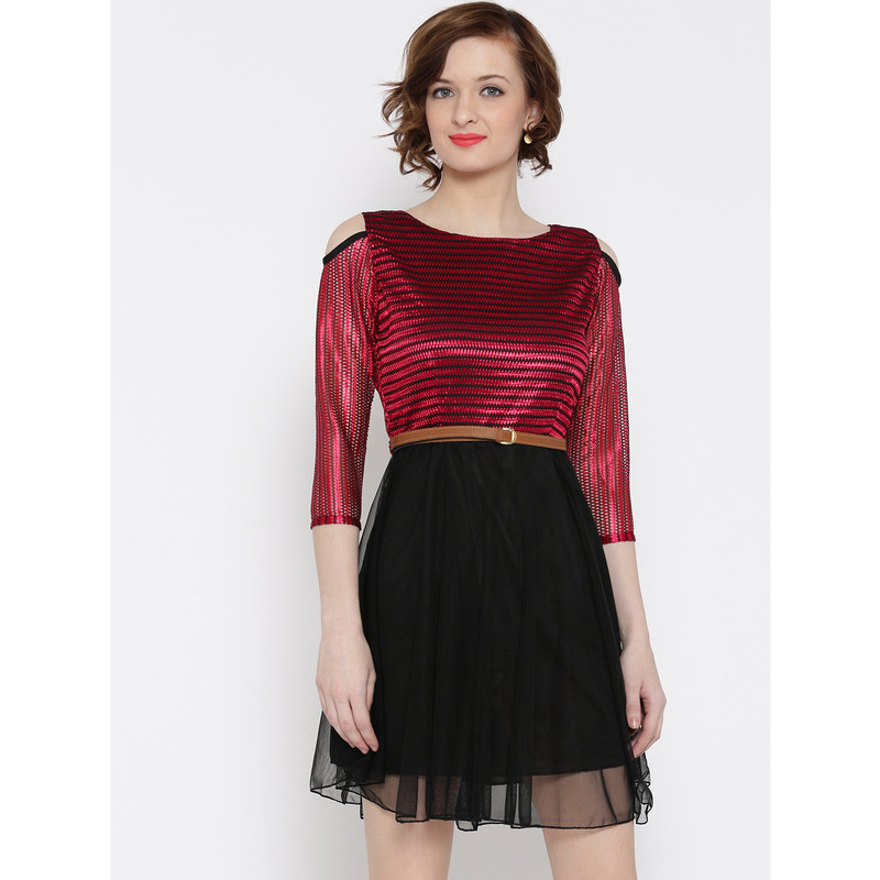 Buy Online Womens Mesh Net Red And Black Party Wear Fit And Flare