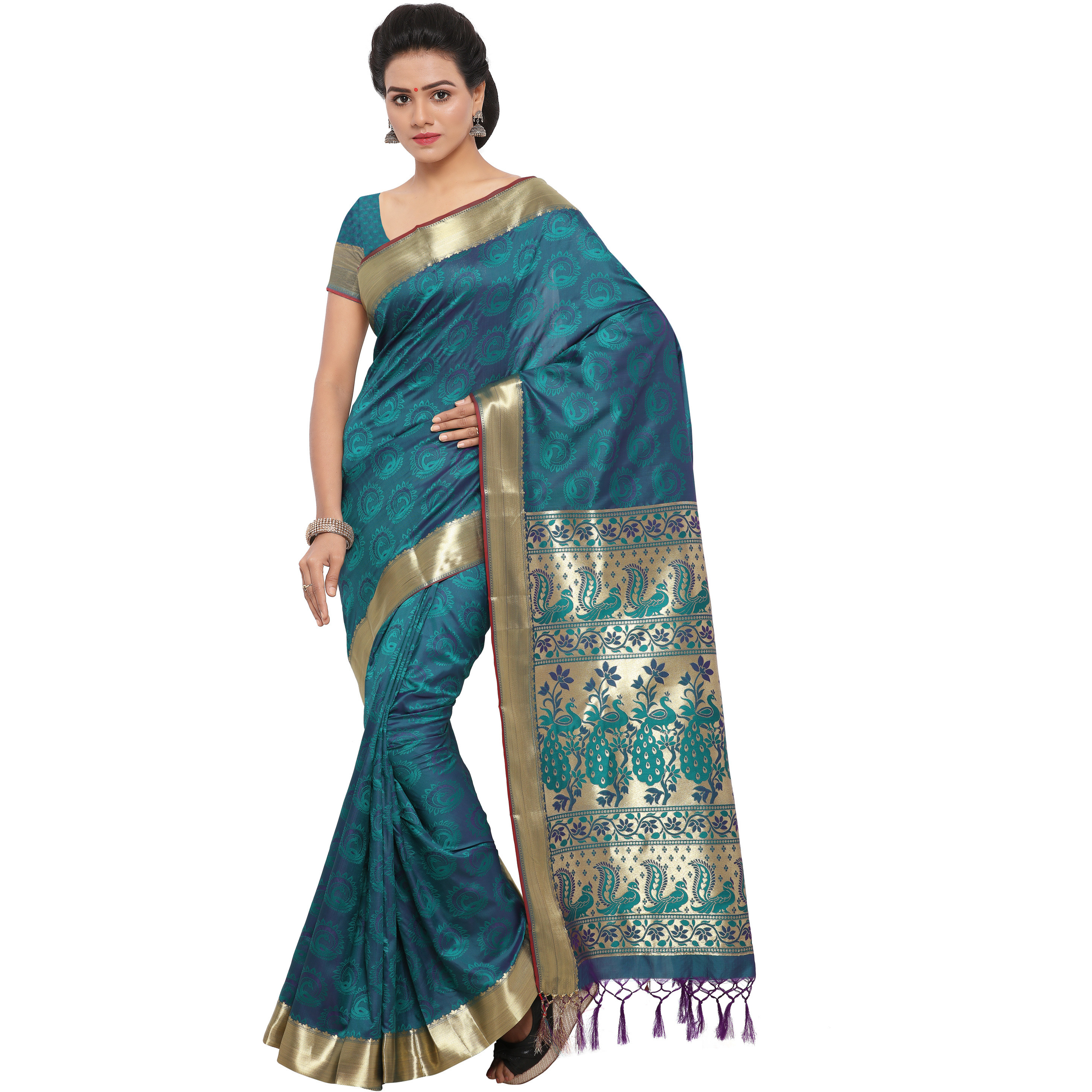 Varkala Silk Sarees Women's Art Silk Kanjeevaram Saree with Blouse Piece (AWJP8116RMV_Teal Blue_Freesize)