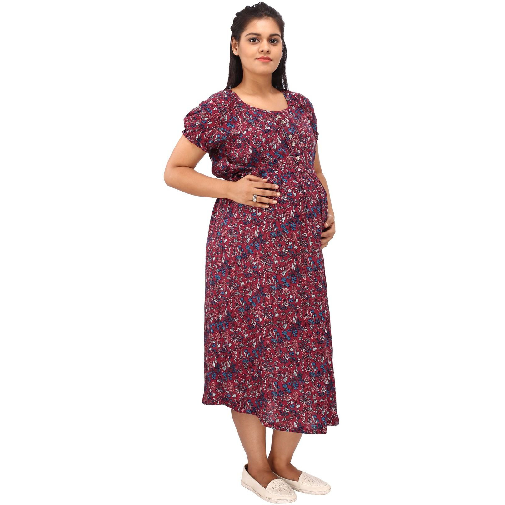 Mamma's Maternity Women's Rayon Maroon Printed Maternity Dress (Size:L)