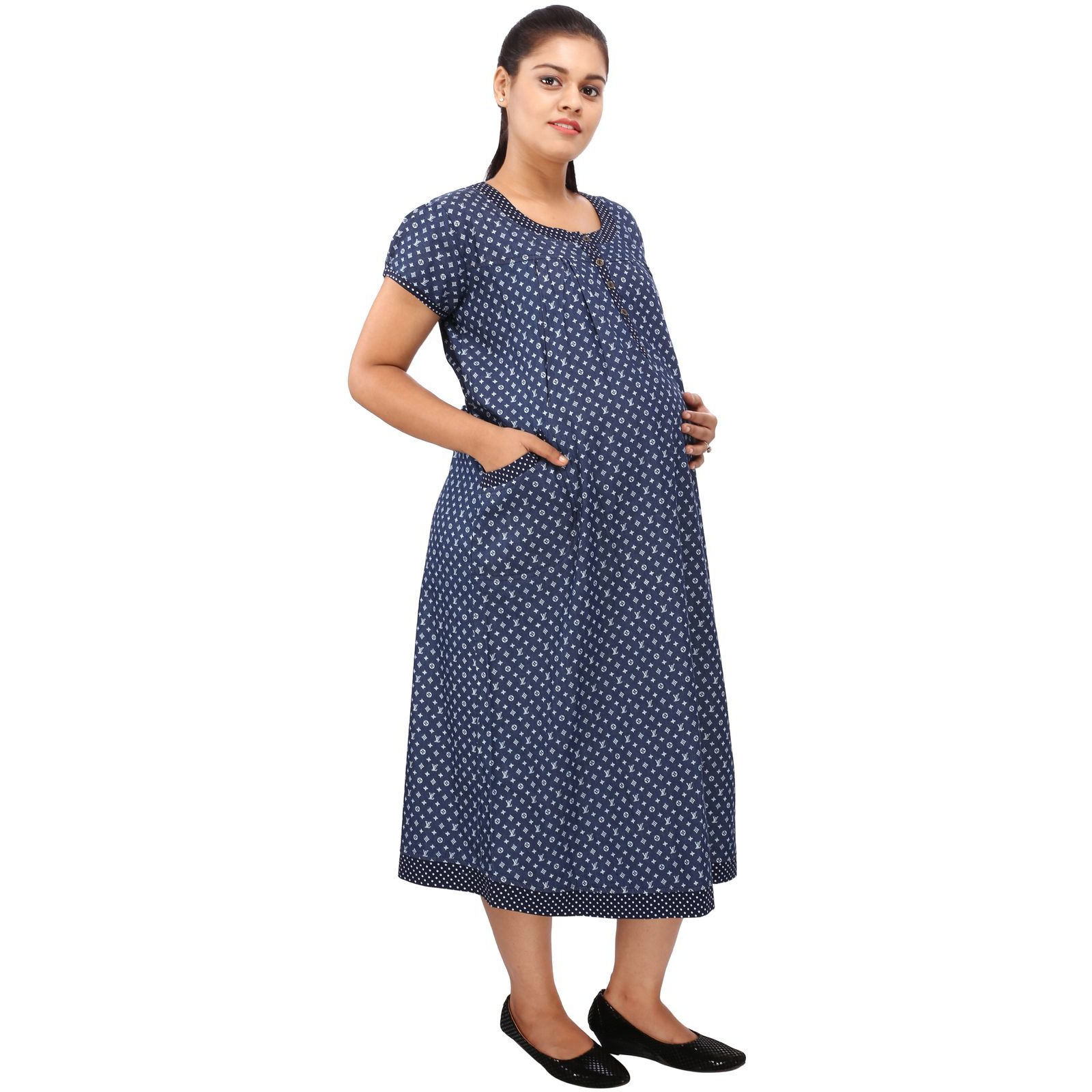 Mamma's Maternity Women's VL Printed Blue Denim Maternity Dress (Size:M)