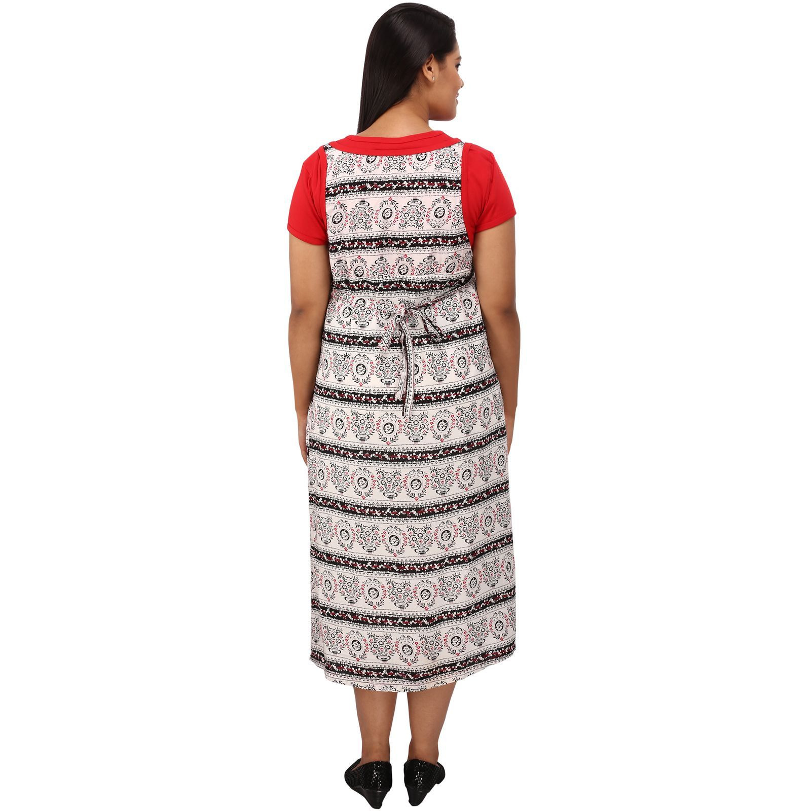 Mamma's Maternity Women's Rayon Printed Red Maternity Dress (Size:M)