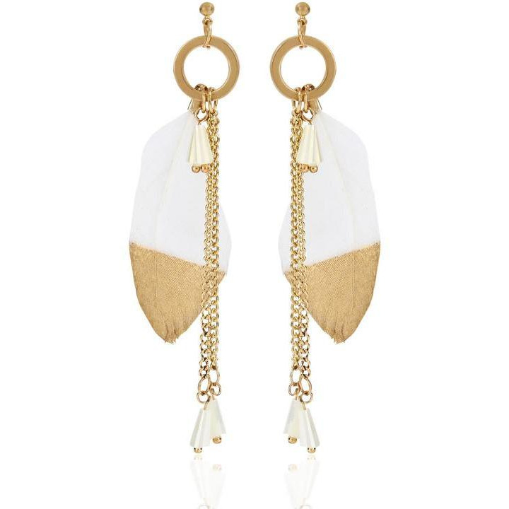 Faryal Enchant Purity Drop Earrings with Gold embellishment on Plush Feather, 18-carat gold-plated