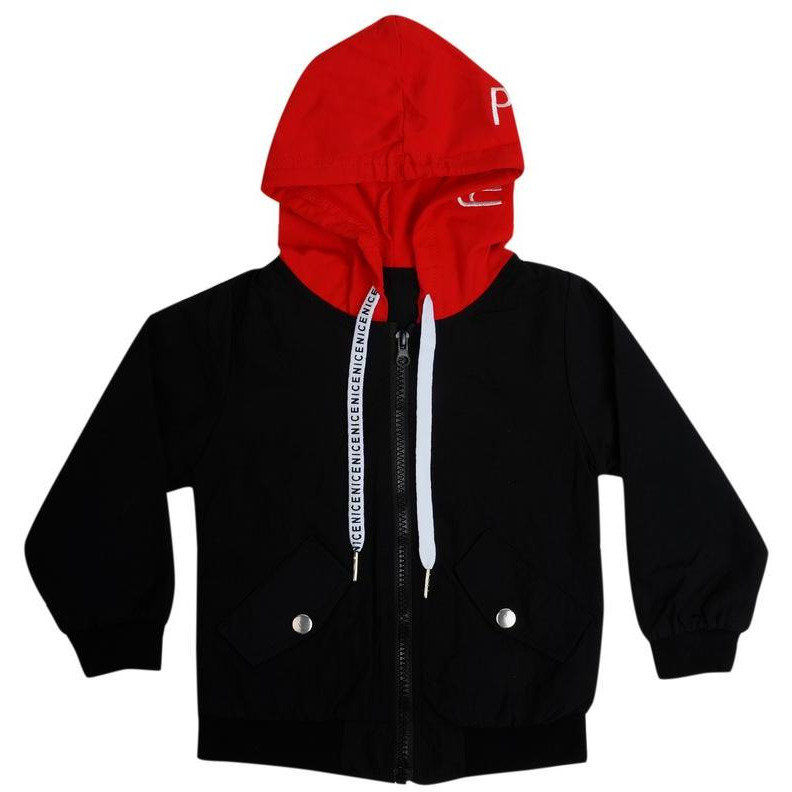Superfie Text Printed Windcheater Zipper With Hood For Kids (Size:1 Yr)