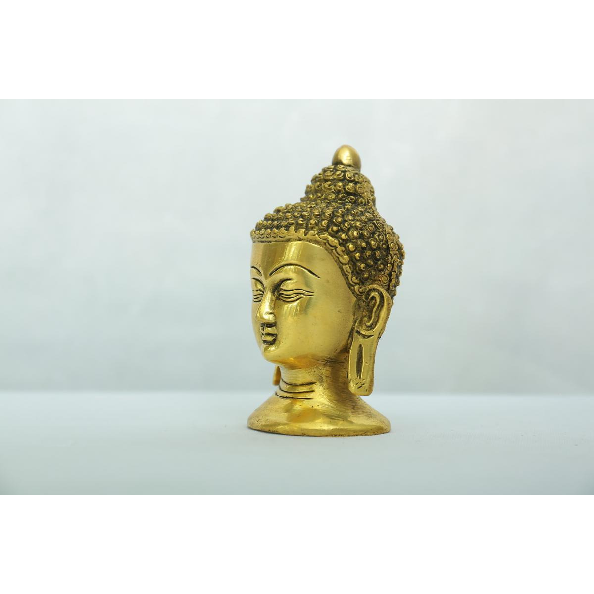 Indian Handcrafted  Brass buddha head-4inches