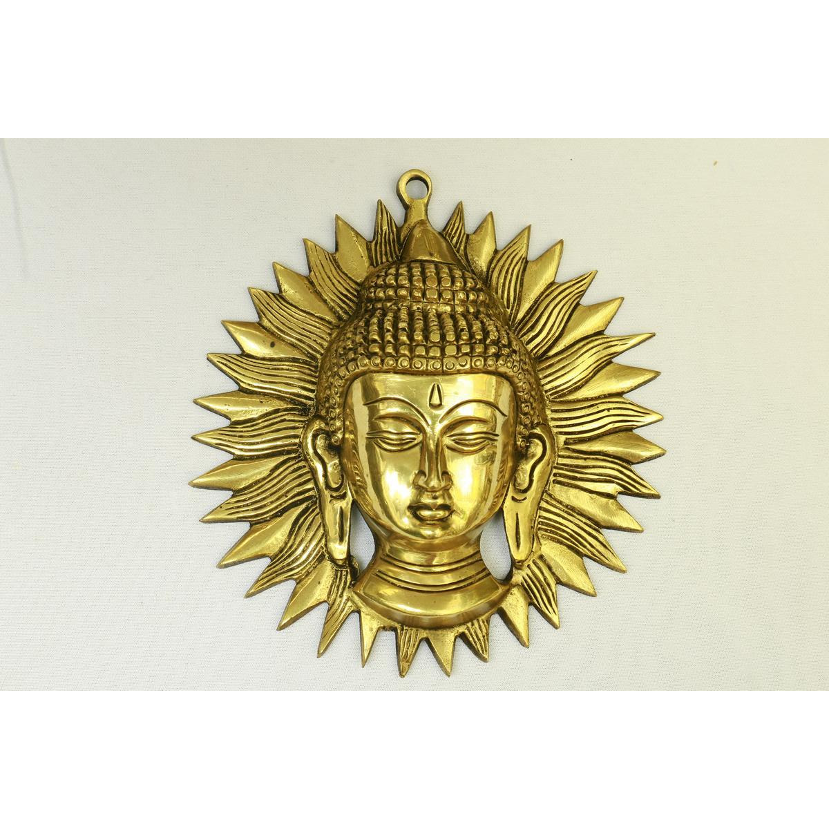 Buy Online Indian Handcrafted Brass buddha sun face wall hanging-7.5 ...