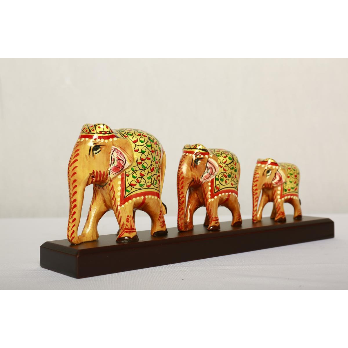 Indian Handcrafted  white Wood elephants3/1-4inches