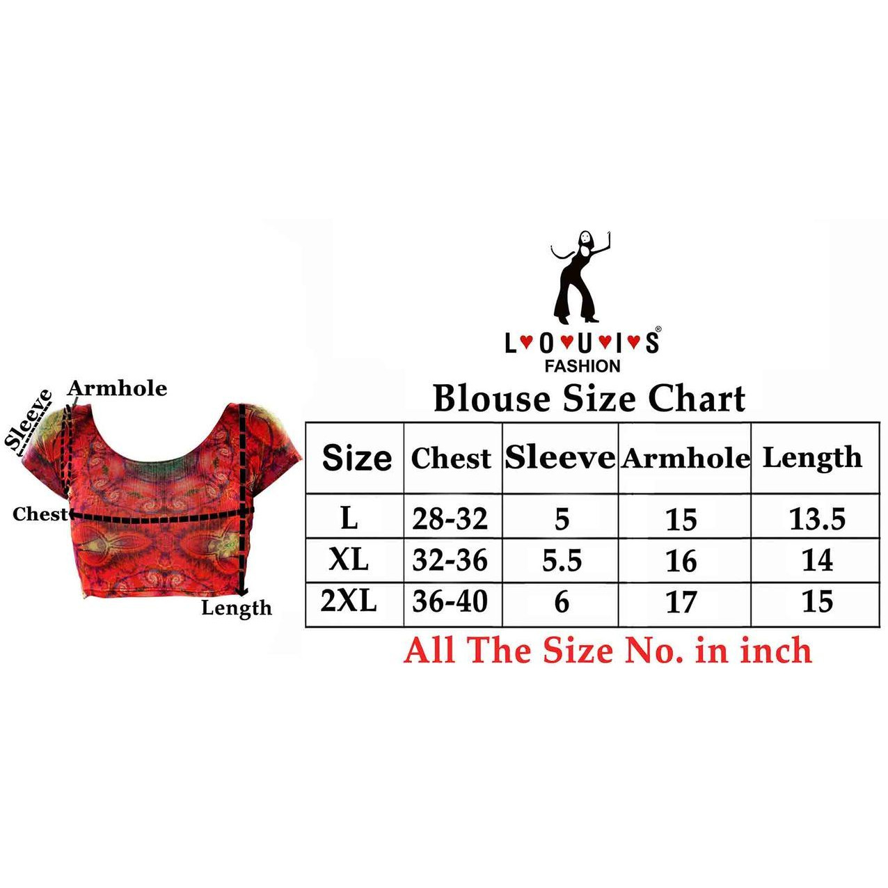 Women Lycra Fabric Dark Red Printed Blouse (Size:XXL)
