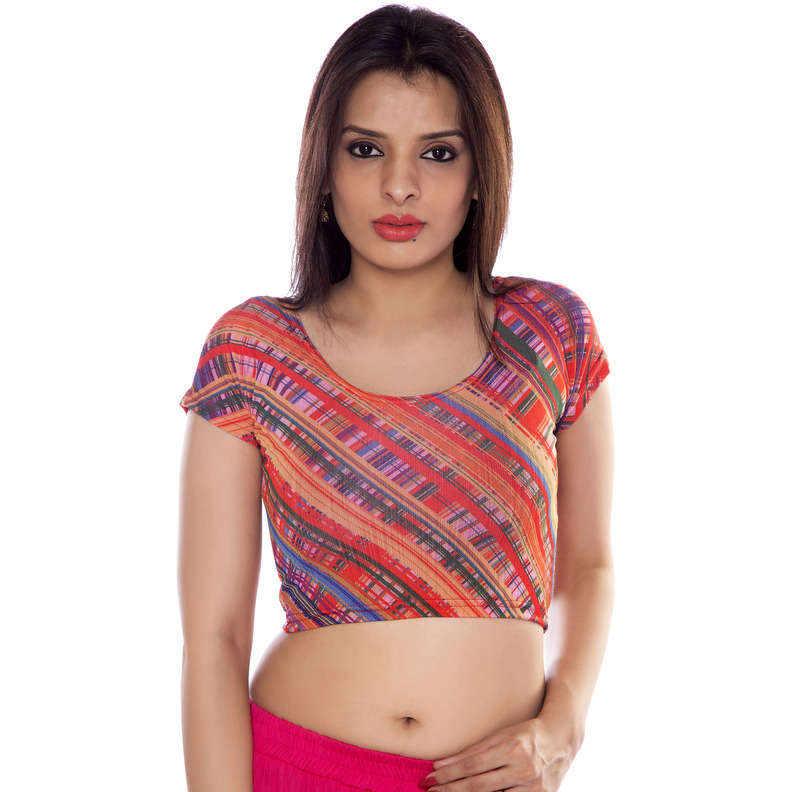 Women Lycra Fabric Coral Printed Blouse (Size:L)