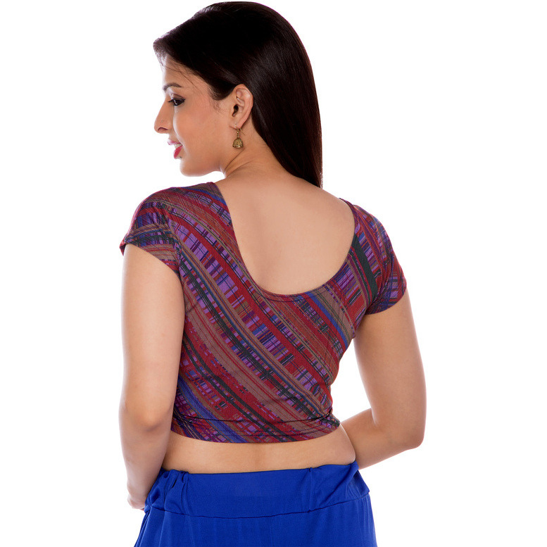 Women Lycra Fabric Maroon Printed Blouse (Size:XXL)