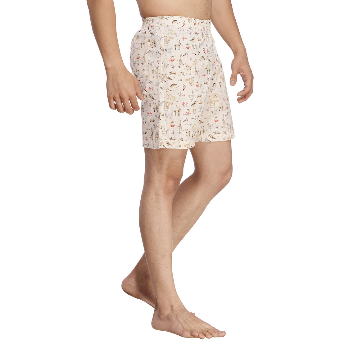 Beige Printed Boxer (Size:S)