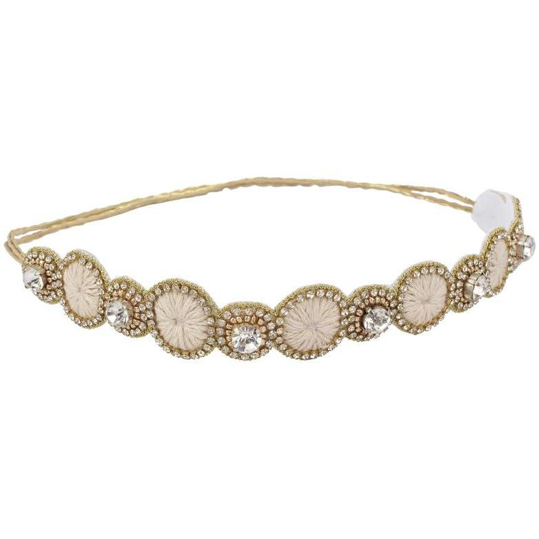 Women Partywear Bridal  Casual 10 inch Gold Headband Threads and Crystal Rhinestones Strong Adjustable Non slip