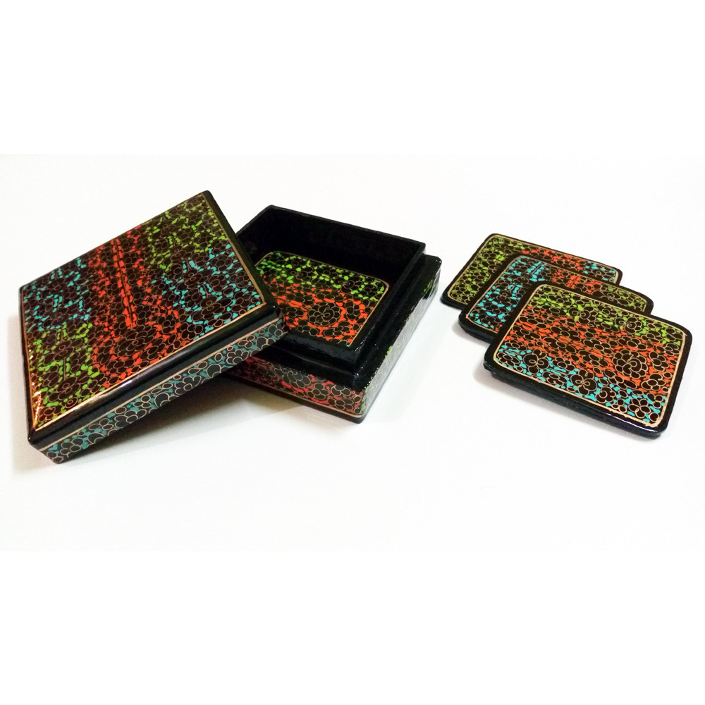 Beautiful square Hand Painted Flower Design paper mache coasters set(Pack of 4)