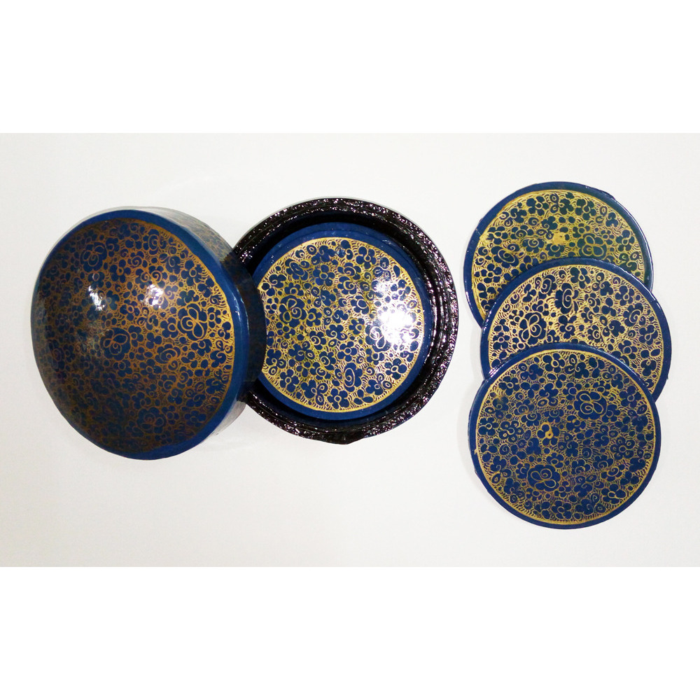 Beautiful round Hand Painted Flower Design paper mache coasters set(Pack of  4)