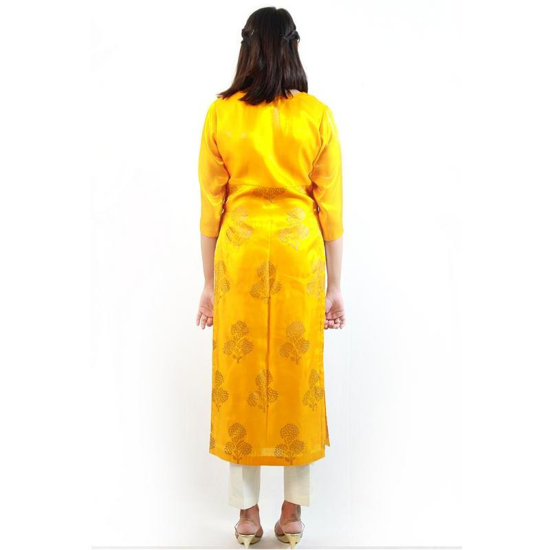Peet Patanga Festive Designer Block Print With Side Zip Yellow Kurti (Size:XXL)