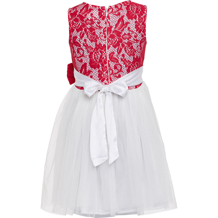 The Cranberry Club Celebration Pink  White Bow Dress (Size:3 - 4 YEARS)