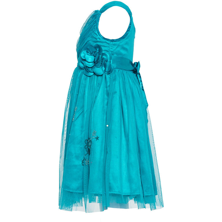 The Cranberry Club Teal Embroidery Overlap Dress (Size:11-12 YEARS)