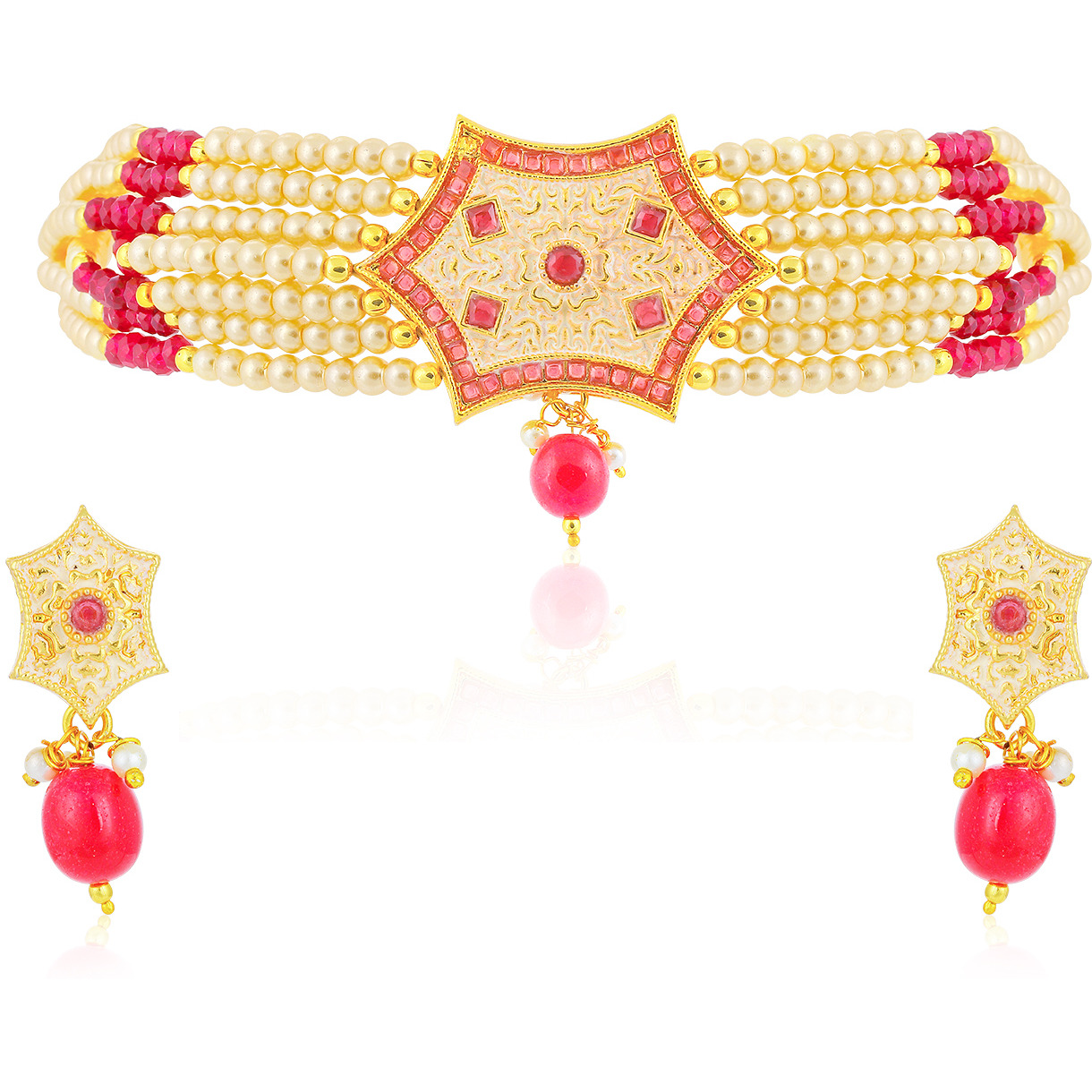 Sukkhi Indian stylish Bollywood jewelry collection Exclusive Choker Gold Plated Necklace Set for Women