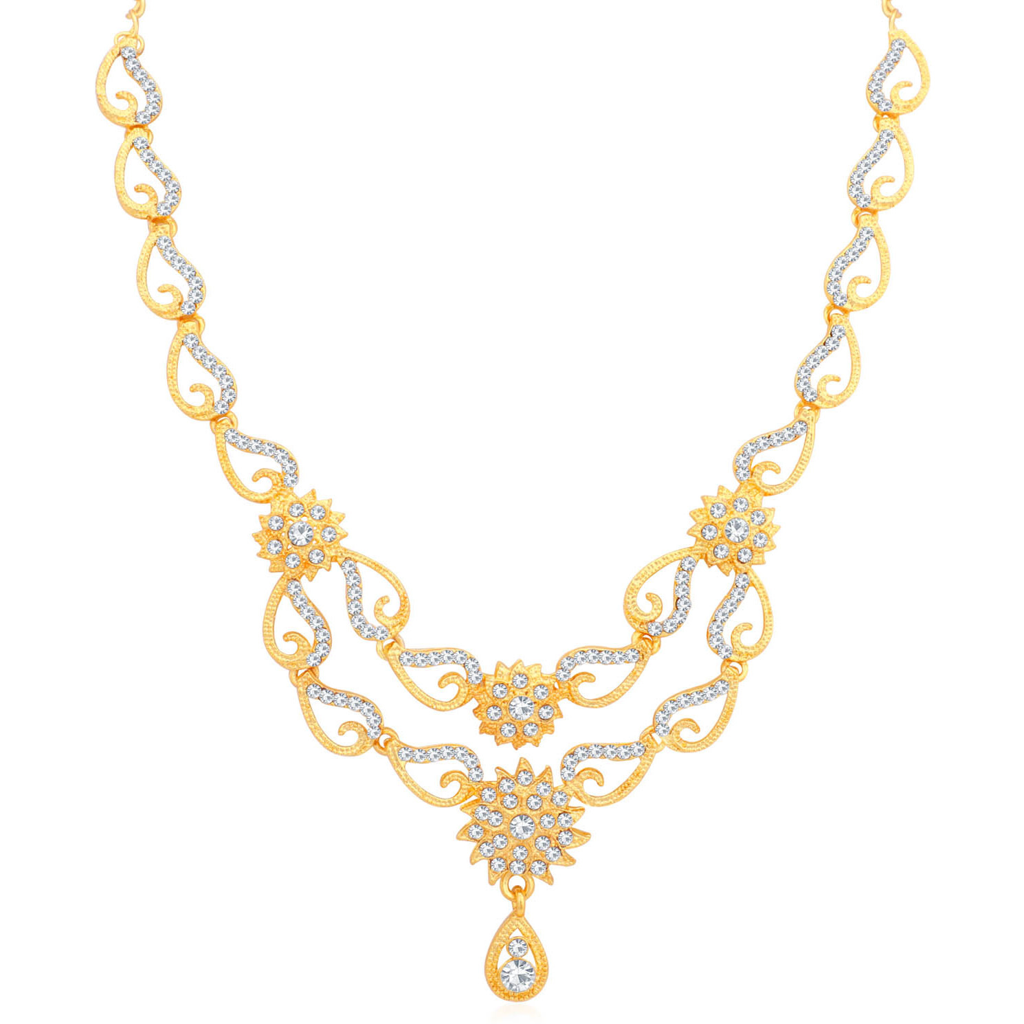 Sukkhi Indian stylish Bollywood jewelry collection Exclusive Floral Gold Plated Necklace Set for Women
