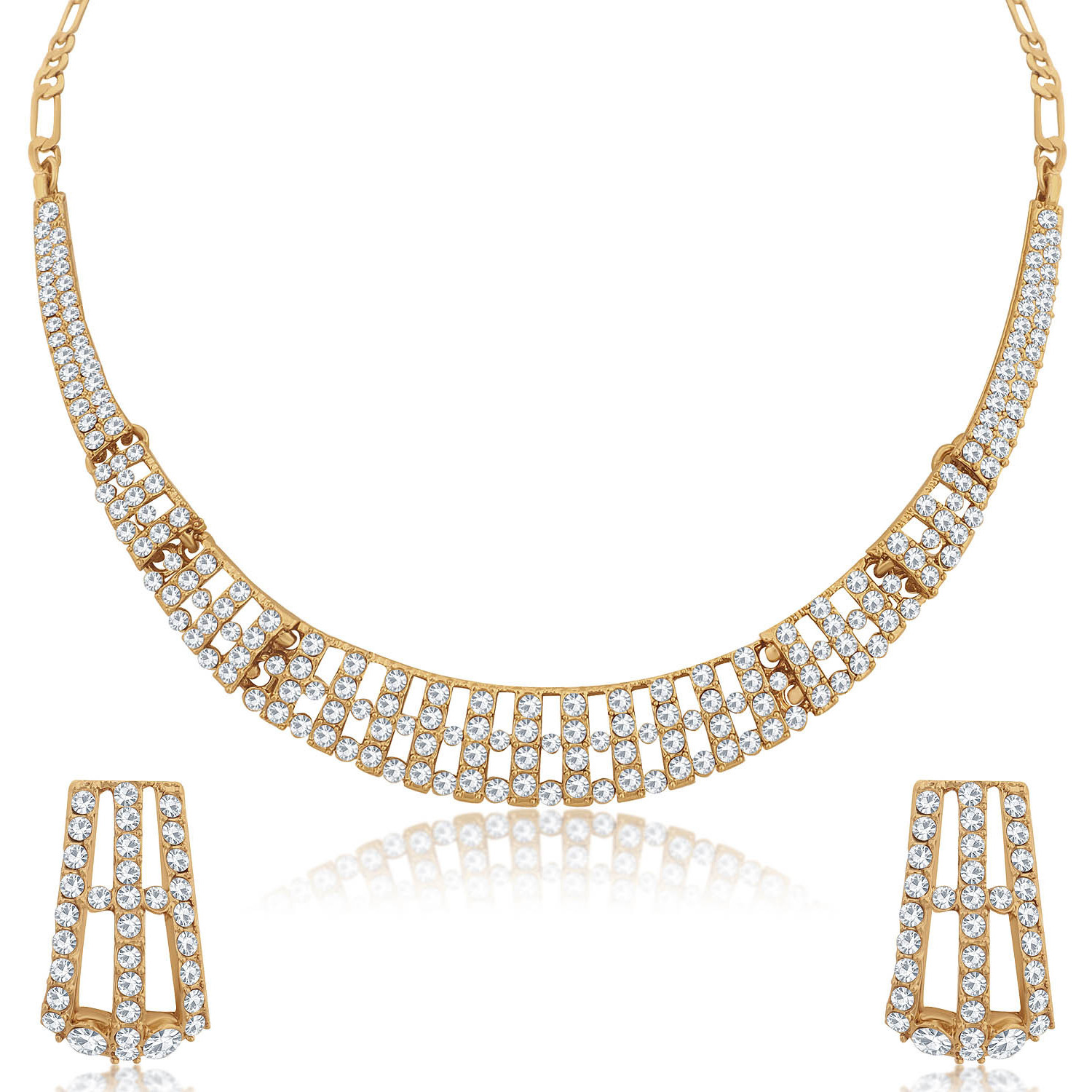 Sukkhi Indian stylish Bollywood jewelry collection Charming Mehandi Gold Plated Necklace Set for Women