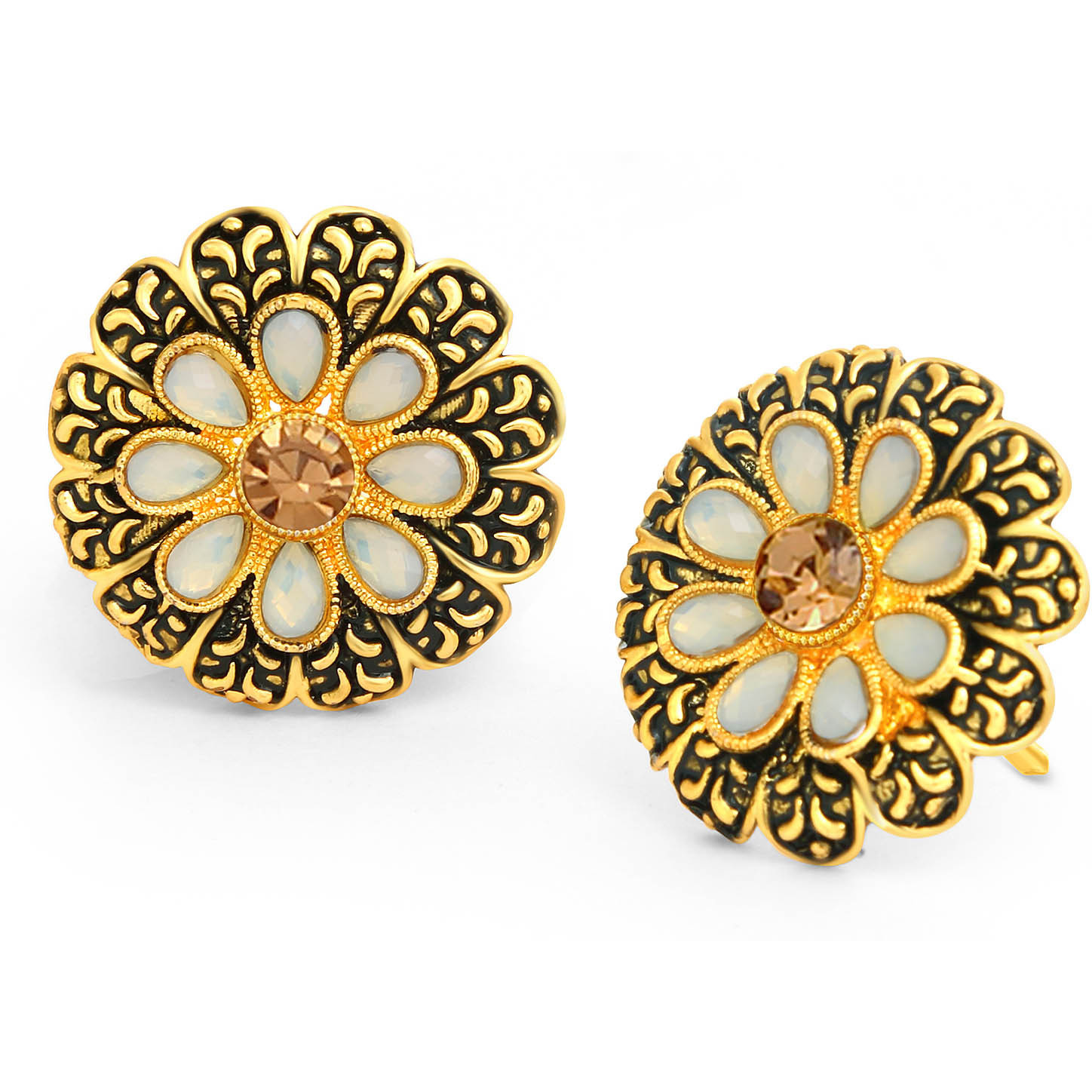 Sukkhi Indian stylish Bollywood jewelry collection Trendy LCT Gold Plated Floral Stud Earring For Women
