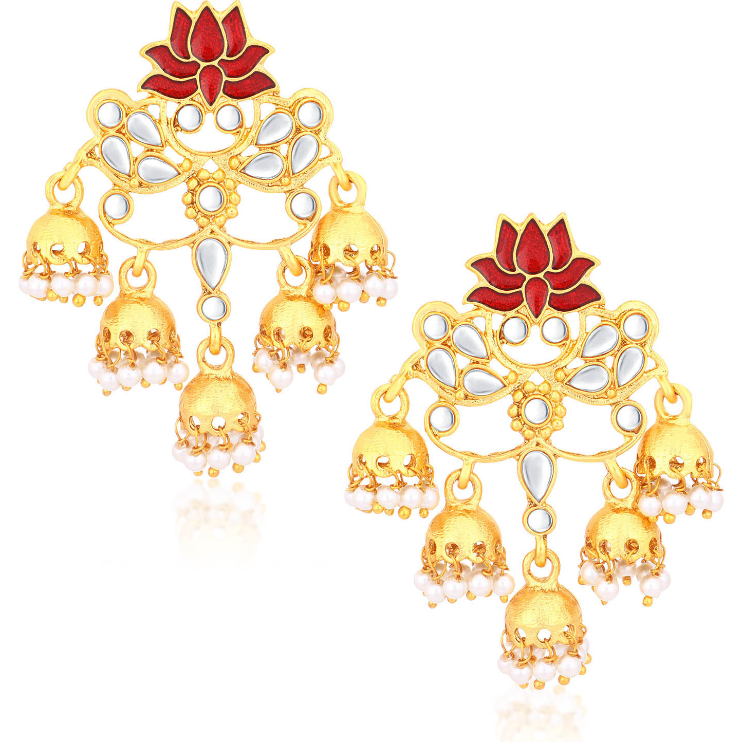 Sukkhi Indian stylish Bollywood jewelry collection Charming Gold Plated Lotus Meenakari Chandelier Earrings For Women