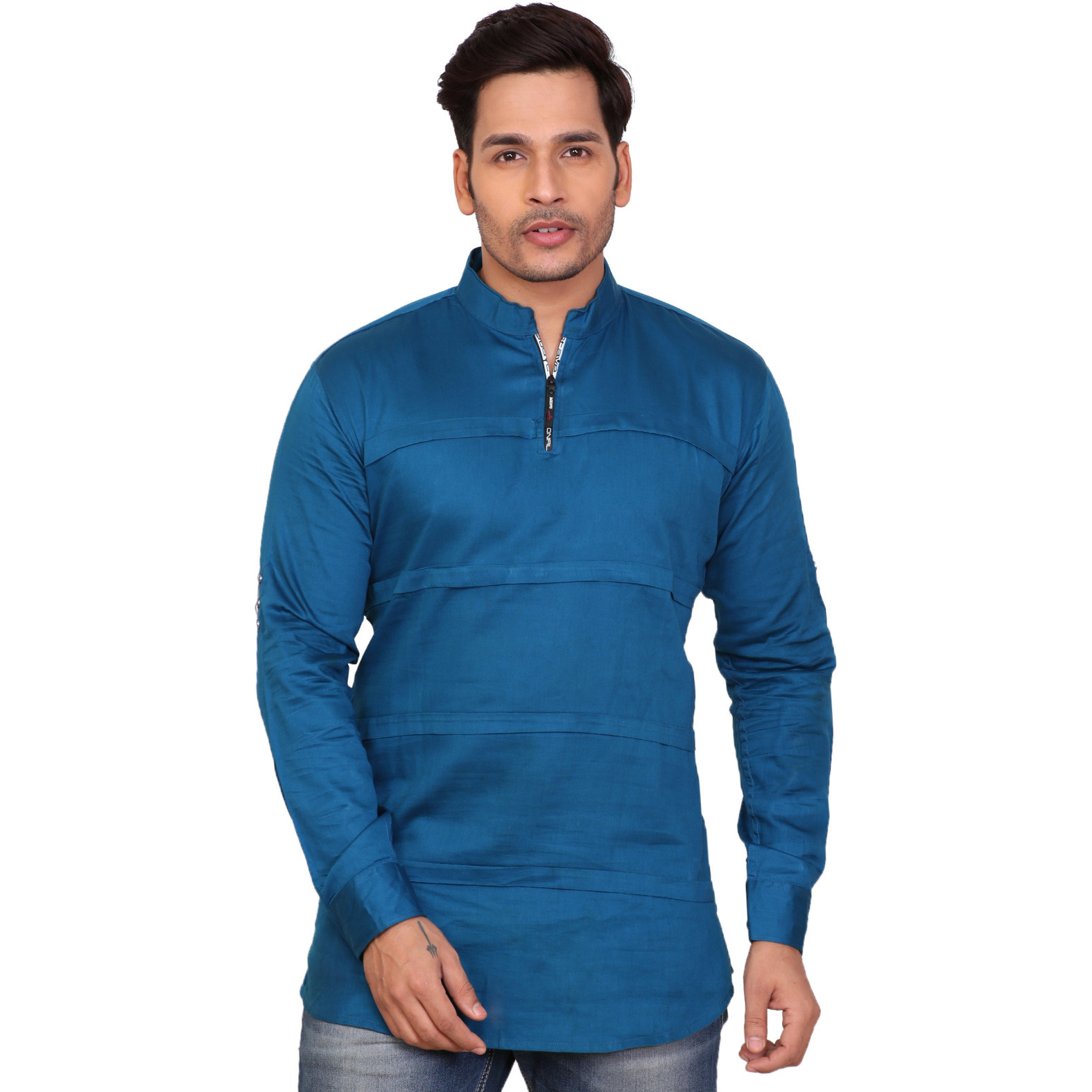 Garun Dark Blue Half Zip Solid Men's Straight Kurta (Size:XL)