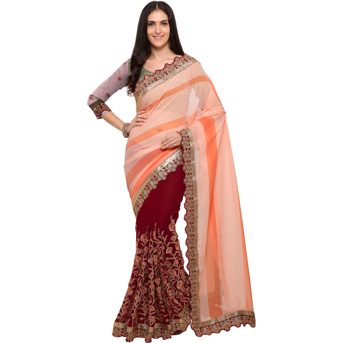 Maroon Georgette Chiffon Embroidered Festive Saree