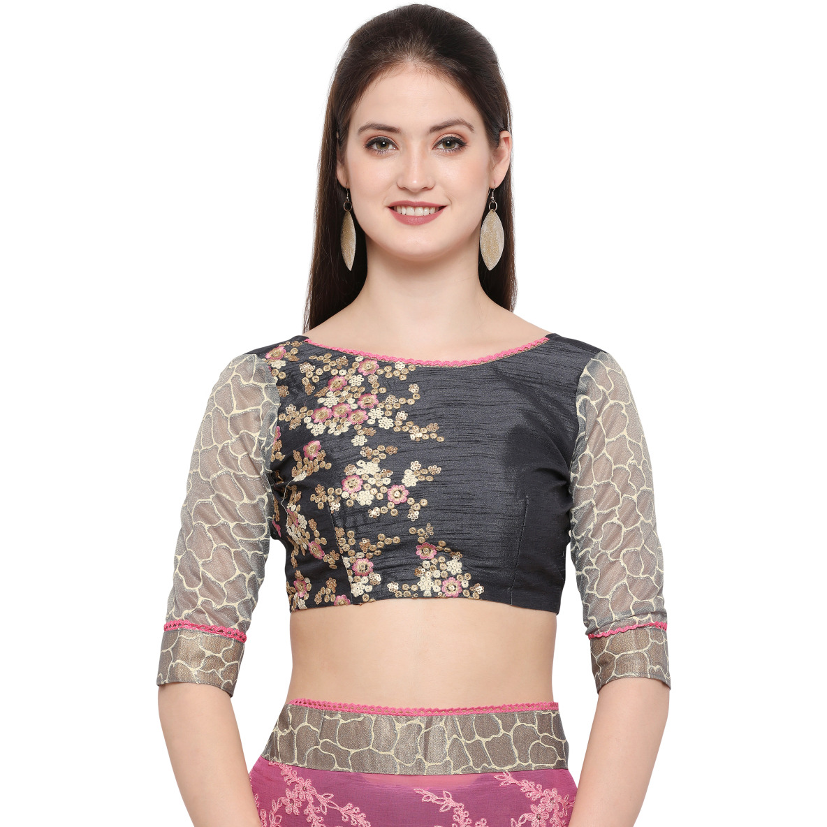 Grey Faux Georgette Embroidered Festive Saree