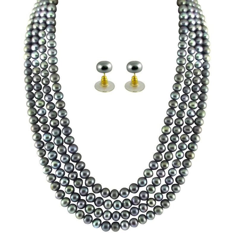 Fashion Women Jewelry Four String Grey Pearl Set