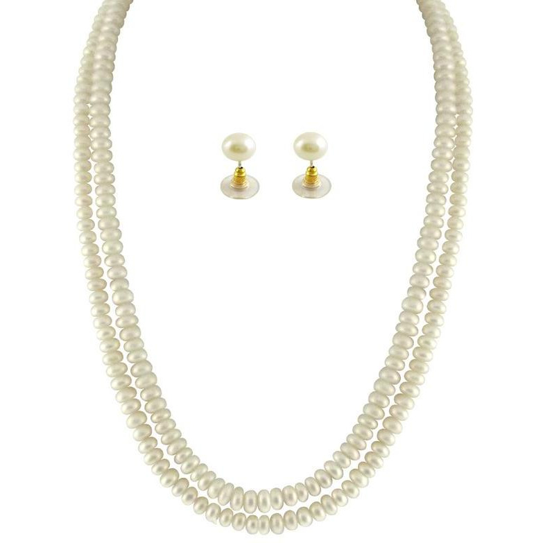 Fashion Women Jewelry Double String Fresh Water Natural White Button Pearl Set