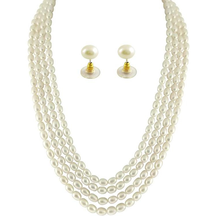 Fashion Women Jewelry Four Strings Oval Pearl Necklace