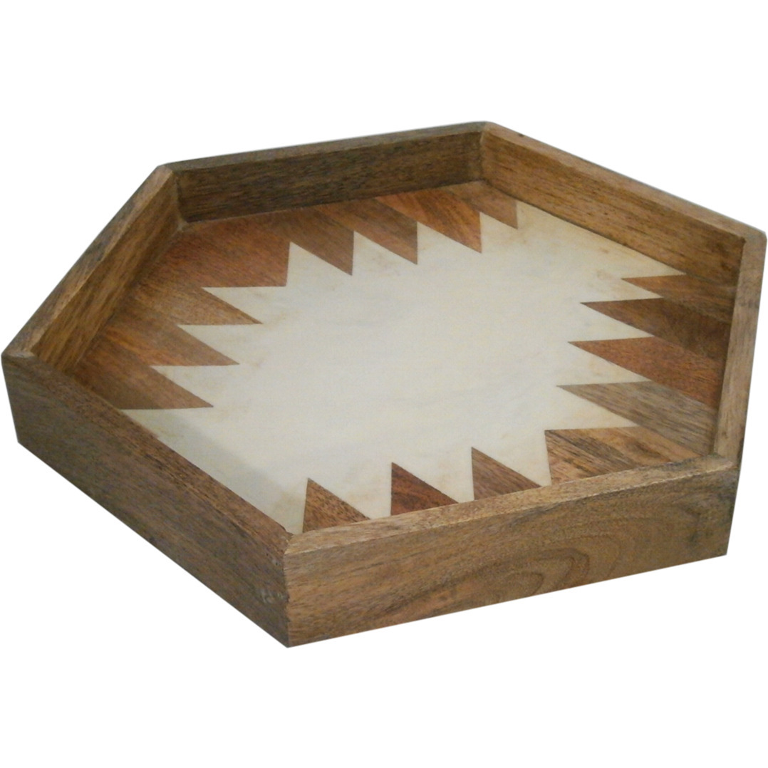 Golmaalshop Wooden Hexa Tray With Camicle Designe
