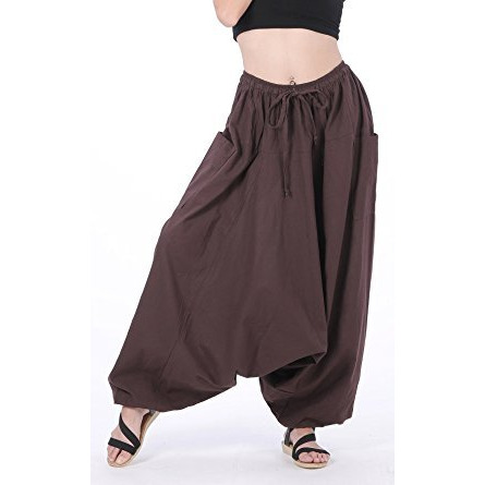 100% Cotton Baggy Boho Gypsy Hippie Harem Pants Plus Size (Brown)